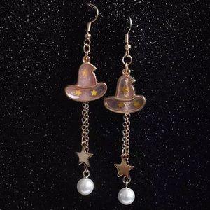 Jewelry - Dangling Golden Witch's Hat Earrings
